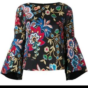 ALICE + OLIVIA Floral Bell Sleeve Blouse
